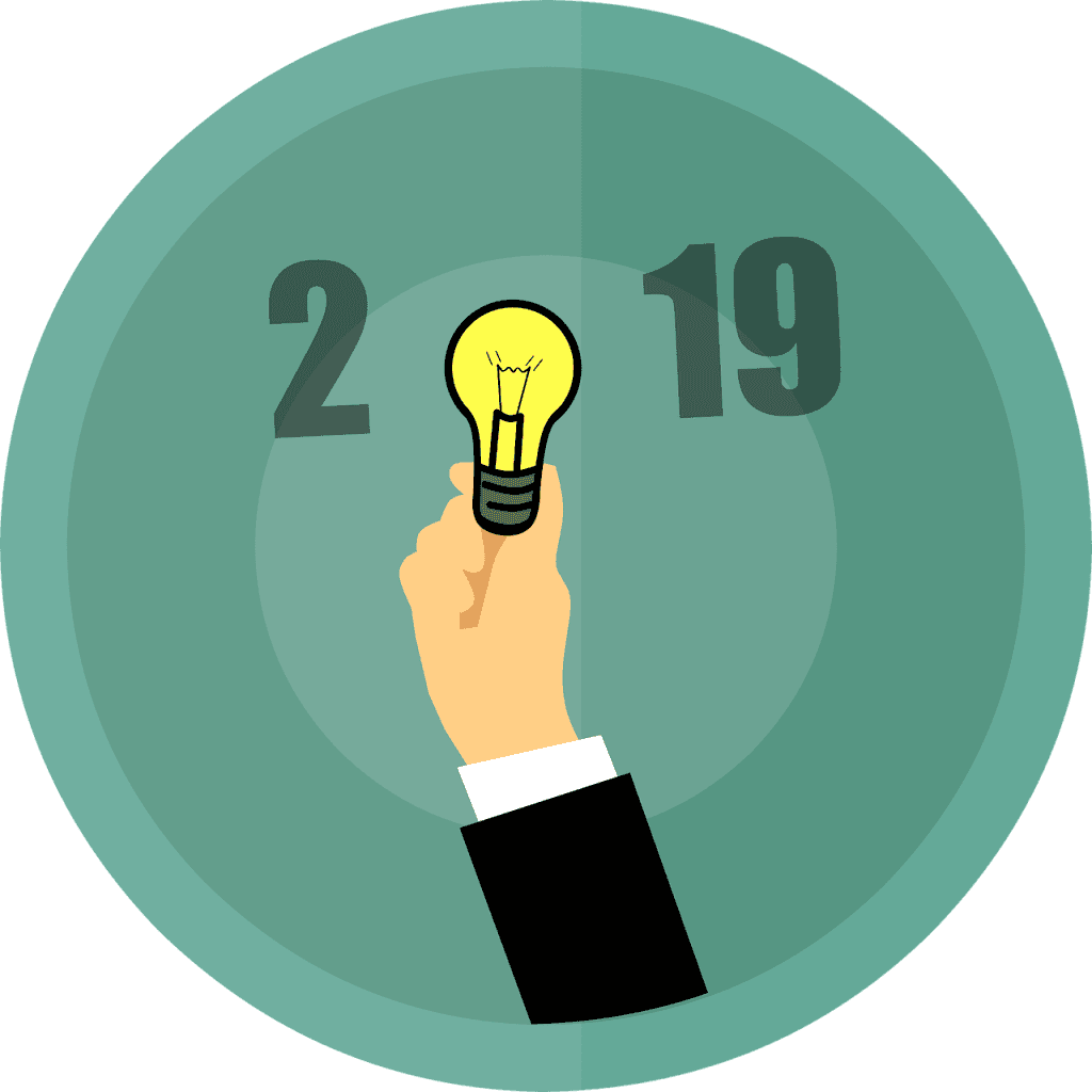 2019 with a light bulb